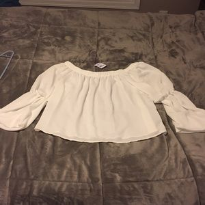 White Off the shoulder dress shirt